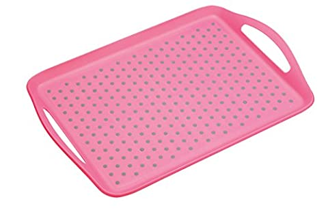 Kitchencraft Colourworks antidérapant Plastique Plateau de service, Rose, 41 x 28.5 cm, 16 x