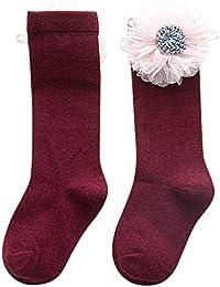 Mitlfuny Niños Niñas Invierno Calentar Calcetines Hasta la Rodilla con Puños para Bebés Niño Niña Lindo Flor Antideslizantes Calcetines Cálido Cómodo Punto Medias Leggings de Algodón