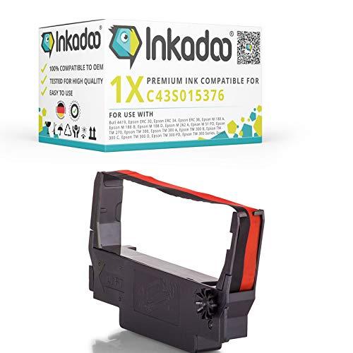 Inkadoo Farbbänder kompatibel zu Epson TM-U 220 B C43S015376 ERC38BR C43S015376, Premium Nylonband Alternativ, Schwarz, Rot