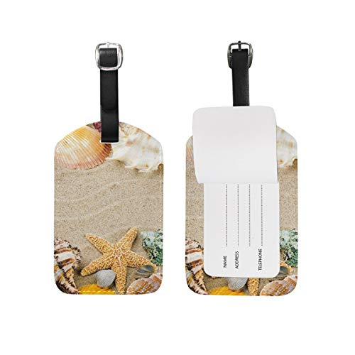 Marine Frame with Colorful Sea Shells PU Leather Luggage Tags Personalized 1 Pieces Set