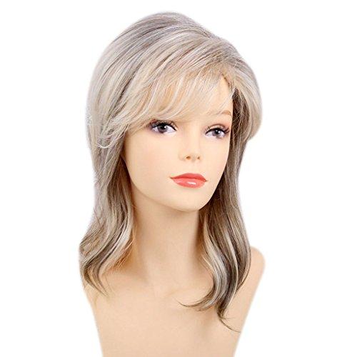 (B Baosity Weiblich Stilvoll Perücke Blond Gelockt Lang Haar Wigs für Karneval Cosplay Halloween, aus Über 80% Echtes Menschenhaar + Kunstfaser - 1#)