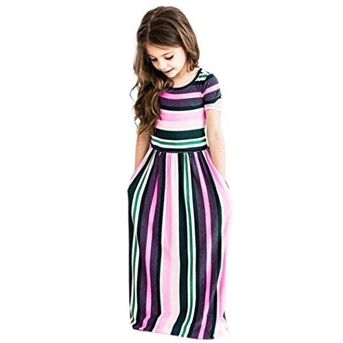 Uomogo® vestito lungo bambina elegante principessa abito cottone garza abiti da sera matrimonio cerimonia 2-8 anni (età: 8-9 anni, rosa)