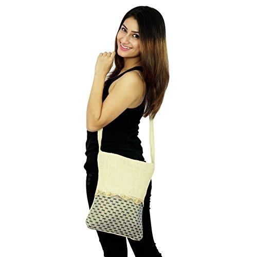 Designer handgemachte seitliche Messenger Jute-Schulter-Beutel Kurier-Schul Mode Off White-2