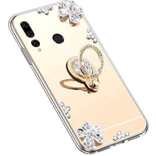 Uposao Kompatibel mit Huawei P Smart Plus 2019 Hülle Silikon Spiegel Handyhülle Schutzhülle mit 360 Grad Ring Ständer Glitzer Kristall Strass Diamant Mädchen Handy Tasche Silikon Hülle Case,Gold