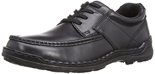 Hush Puppies Ground Oxford, Scarpe Stringate da Uomo, Colore Nero (Black Leather), Taglia 45 EU (10 UK)