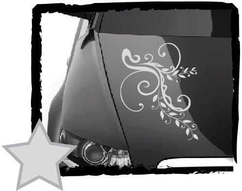 DD Dotzler Design Tuning V1 Blumenranke Floral Aufkleber für Motorhaube Heckscheibe Autoaufkleber (45 x 30 cm Silber-metallic) (Silber-metallic-lack-latex)