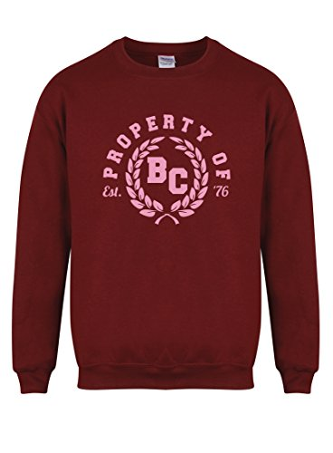 property-of-bc-est-76-unisex-fit-sweater-fun-slogan-jumper-small-chest-34-36-inches-maroon-pink
