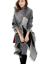 2d76c7b975e9 DELEY Automne Hiver Femme Ladies Echarpe Vintage Carreaux Plaid Tissu Chaud  Confortable Foulards Wrap Châles Etoles