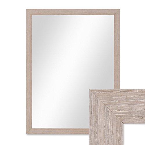 PHOTOLINI Wand-Spiegel 33x43 cm im Holzrahmen Sonoma Eiche Hell Modern/Spiegelfläche 30x40 cm