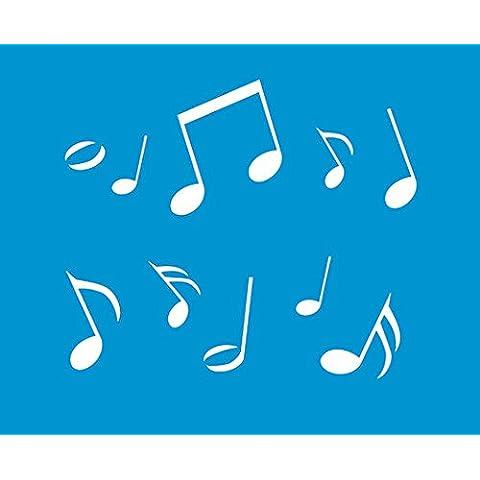 21 cm x 17 cm reutilizable Flexible plástico para decorar muebles de pared diseño gráfico spraymaster decoraciones de plantilla - notas de la música de símbolos
