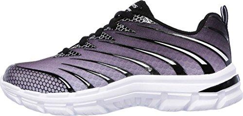Skechers Mädchen Nitrate Sneaker, Charcoal/Schwarz Gray/Black