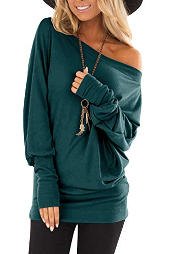flying rabbit Damen Langarmshirt Damen Shirt Damen Langarm top One Shoulder einfarbig sexy Casual Basic T-Shirt Tops Blouse (deep Green, Large)