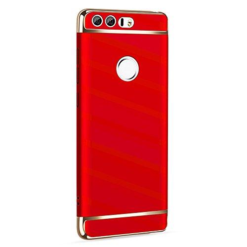 Huawei Honor 8 Hülle, MSVII® 3-in-1 Design PC Hülle Schutzhülle Case Und Displayschutzfolie für Huawei Honor 8 - Rot / RED JY50078 Rot