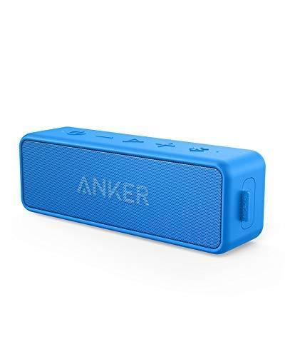Anker SoundCore 2 Bluetooth Lautsprecher mit Dual Treiber Bass, 24h Spielzeit, 20m Reichweite, Upgraded IPX7 Wasserfest mit Eingebauten Mikrofon, Kabelloser Lautsprecher für iPhone, Samsung usw.(Blau)