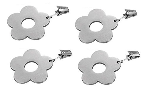 Hokipo Stainless Steel Tablecloth Clips, Flower Design, 4 Pc Set
