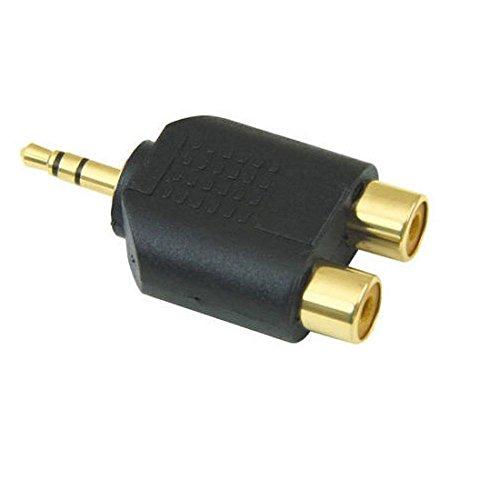 Jack RCA Adaptador / 3,5 mm Jack a 2 oro estéreo divisor en Y RCA Adaptador RCA a RCA / 3,5 mm (1/8 pulgadas) macho a dos cabezales de audio RCA hembra