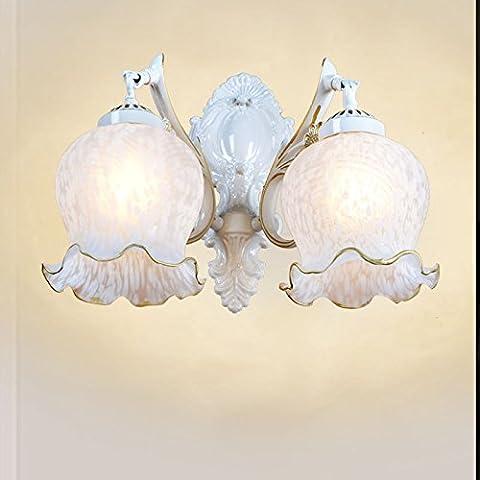 Stile europeo soggiorno specchio giardino lampada parete lampada lampada da comodino LED minimalista Lampade da parete,Doppia testa