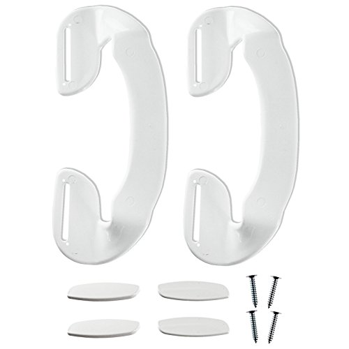 Spares2go ajustable contorneado manilla para puertas de frigorífico o congelador Candy (unidades 2 asas, 188 mm, blanco)