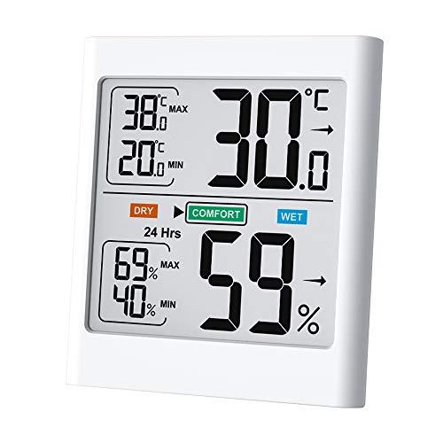 Byttron termometro igrometro digitale,monitor per misuratore di temperatura e umidità interna con display lcd retroilluminato, record min/max, indicatori di comfort per casa,ufficio,serra,magazzino