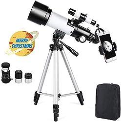Télescope Astronomique Zoom HD 400/70 mm Plage de Grossissement Elevé avec Trépied, Portable, Équipé d'un Sac à Dos et d'un Adaptateur Smartphone pour Adultes, Enfants et Débutants - Ranipobo