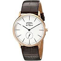 Rotary GS90053/02 Men's Quartz Watch with White Dial Analogue Display and Brown Leather Strap