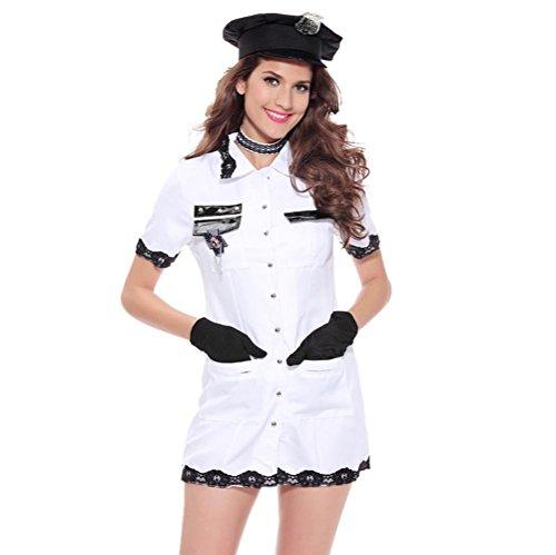 FENGHAO Frauen White Lingerie Polizei Kostüm Frauen Komplette Outfit-Kostüm, mit Handschellen, Hut , (Polizei Kostüm Hut Mode)