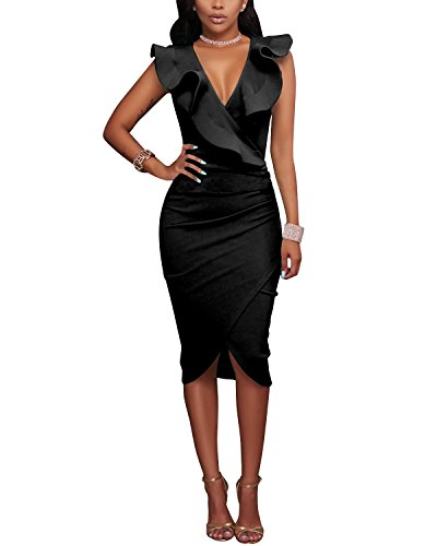 - 41oPxjZI54L - Gikim Women's Vintage V Neck Ruffle Tight Wrap Club Midi Party Bodycon Dress