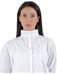 Cotton Lane algodón estilo victoriano Vintage reproducción blusa. Tamaños UK 8A 34.