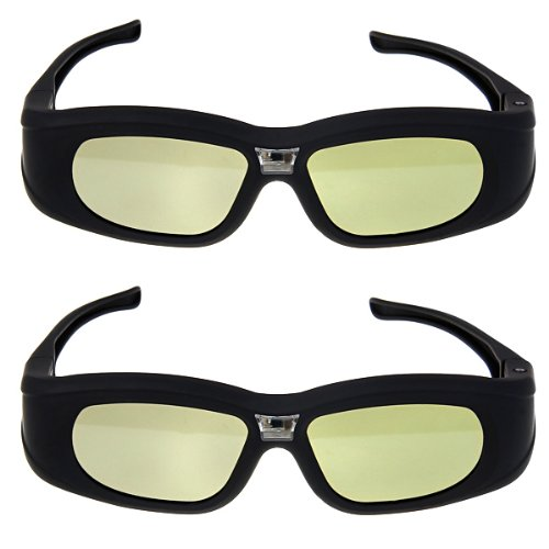 Price comparison product image Excelvan Top Quality 2X 3D Active Rechargeable Shutter DLP-Link Projector Glasses for BenQ Dell Samsung Optoma Sharp ViewSonic Mitsubishi DLP-Link Projector, 2PCS Brand New 3D active DLP-Link glasses For Optoma, Acer, BenQ, NEC, ViewSonic, Sharp, Dell