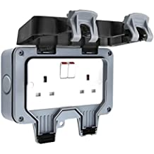 Double Waterproof Outdoor 13Amp Storm Switched 2 Gang Socket IP66 Outside Use