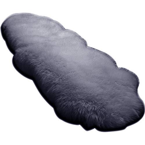 WOLTU TP3513hgr-L Öko Lammfell Schaffell Teppich Bettvorleger Sofa Matte echtes Naturfell Longhair Hellgrau 180-210cm - Echtem Schaffell