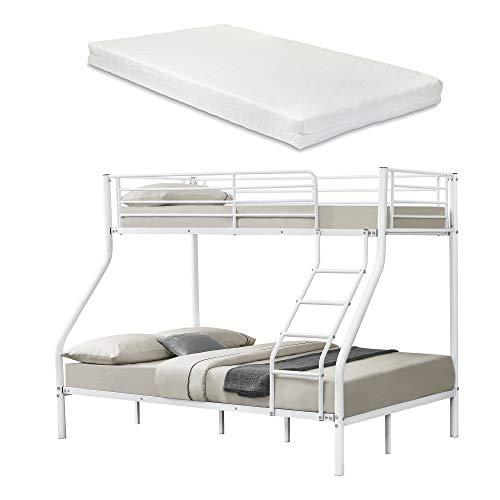 etagenbett haus [neu.haus] Metall-Etagenbett - Weiß - Mit Matratzen 200x140/90cm Kinderbett Stockbett Hochbett Metall Bettgestell