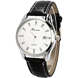 Wrist Watch - Beinuo Men Boy Sport Analog Quartz Alarm Auto Day Date Display Wrist Watch Leather band White+Black