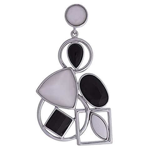 925 Sterling Silber Großer Massiver Rhodiniert Damen Anhänger Achat Weiß Onyx Schwarz Black White