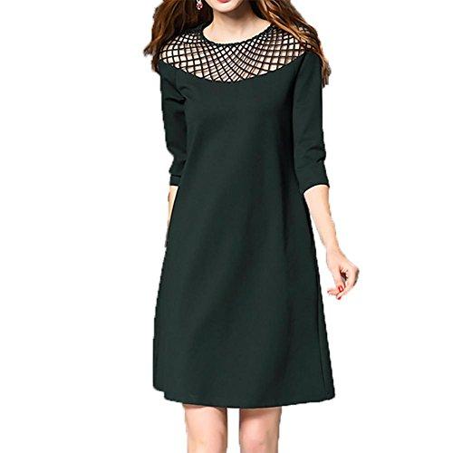 YUYU Dress morbida estate delle donne allentato cavità di modo di colore solido , dark green , m