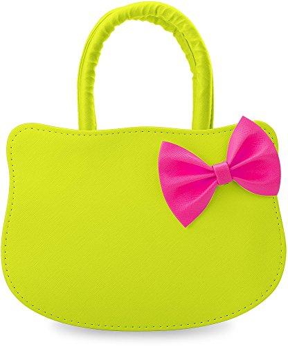 kleine Handtasche für Jugendliche Mädchen Damentasche Katzen – Form Kitty mit Schleife Neon – Farben (lila) gelb
