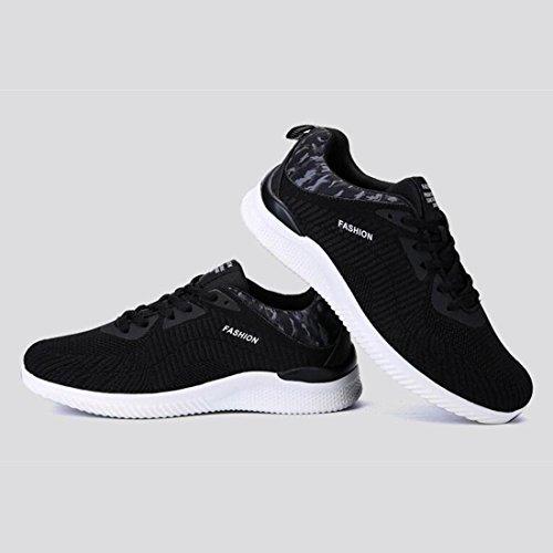 Scarpe da corsa in tessuto primavera maglia uomo scarpe da ginnastica moda leggero traspirante scarpe da ginnastica di tendenza black and white
