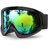 findway K2 Skibrille Snowboardbrille Kinder - Ski Snowboard Brille Brillenträger Schneebrille Verspiegelt für Kinder Jungen und Mädchen 3 4 5 6 7 8 9 10 11 12 Jahre OTG Anti-UV Anti-Fog (Gold)