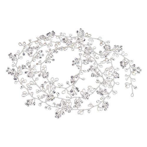 TOOGOO 1M Perle d'imitation Cristal Cheveux de mariage Vigne Cristal Accessoires de mariage Imitation Diamante Bandeau