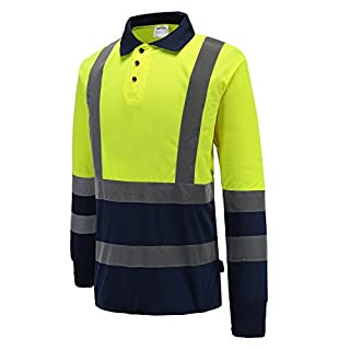 AYKRM Hi Vis Viz Long Sleeve Polo Shirt Reflective Construction Engineer Traffic High Visibility Band T-Shirt Button Top Sweat Grey Collared Security EN ISO 20471 Breathable(M-3XL) (Yellow, 3XL)