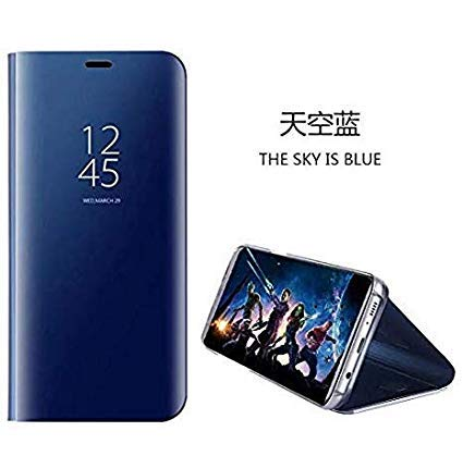 hyujia Compatible para Xiaomi Redmi Go Carcasa 2018/Funda Inteligente Fecha/Hora Ver Espejo tirón del Caso Soporte Plegable/Duro Shell Teléfono Case Cover para Xiaomi Redmi Go Azul