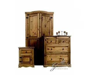 Corona Mexican Wax Rustic Dark Wooden Bedroom Furniture ...