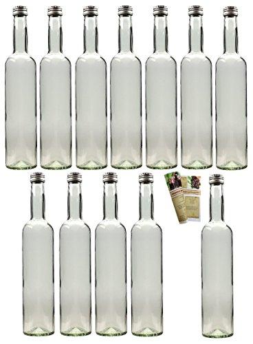 gouveo 24er Set leere 350 ml Bordeaux Flaschen inkl. Schraubverschluss Silber und 28-seitige Flaschendiscount-Rezeptbroschüre Flaschen Likörflaschen Schnapsflaschen Glasflaschen (24er Set, PP 28 Silber)