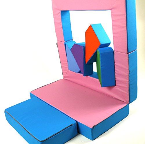 Spielsofa 4in1 Kindersofa Spielmatraze für das Kinderzimmer Spielpolster Softsofa rosa/hellblau Puzzle Kinderzimmersofa Spieltisch Kindermöbel - 6