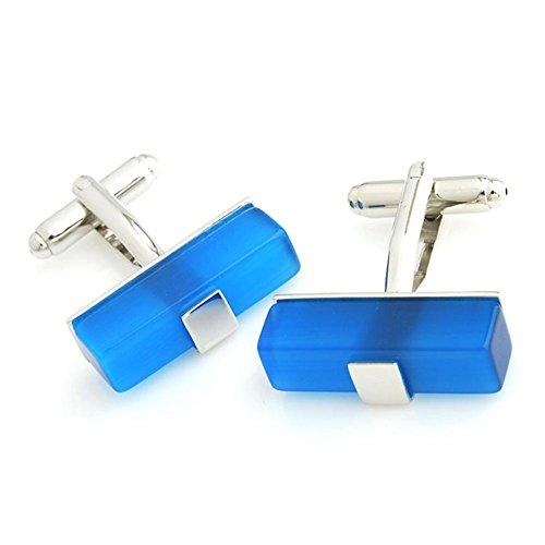 Mjhwsx Moda in acciaio inox placcato opale blu gemelli - Blu Placcato Gemelli