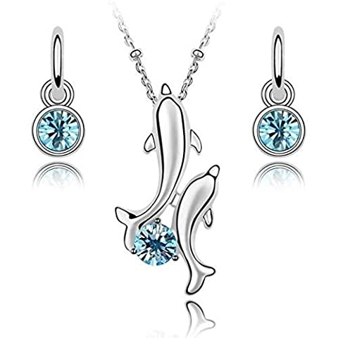 Dolphins Crystals from Swarovski Set 18 ct Gold Plated Blue Simulated Aquamarine Necklace Earrings