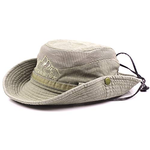 aeb21c9b Cutogain Men Cotton Embroidery Hat Outdoor Sun Protection Wide Brim  Foldable Boonie Bucket Hat
