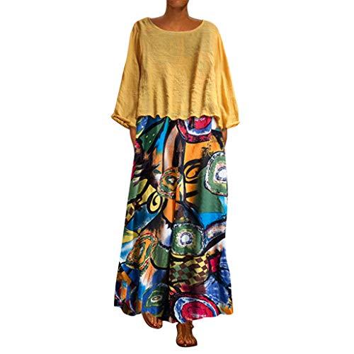 Kostüm 2 Was 1 Katze Hat - Frauen Zwei Stück Ethnische Print Maxikleid Damen Übergröße Patchwork Langarm O-Ausschnitt Kleider