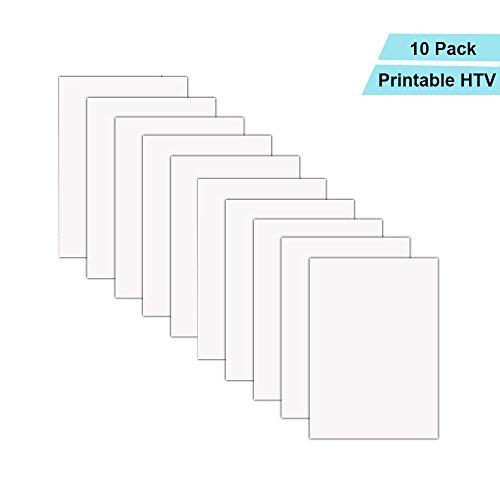 bedruckbar Wärmeübertragung Vinyl Inkjet Drucker Eisen auf HTV A4Größe für leichte Stoffe oder weiß T-Shirts, 10Stück -
