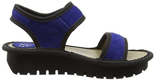 FLY London Kish603fly, Sandales Compensées femme Bleu - Blue (Blue/Black)